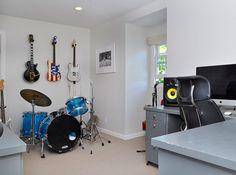 Music room in home of Strokes' guitarist Nick Valensi and TV host Amanda de Cadenet.