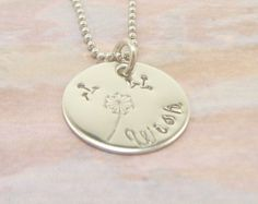 Hand Stamped Jewelry Wish Dandelion Personalized Necklace. $20.00, via Etsy.