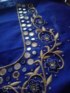 Mirror Blouse Design, Hand Work Blouse Design, Simple Blouse Designs, Silk Saree Blouse Designs, Bridal Blouse Designs, Simple Designs, Zardosi Embroidery, Embroidery Blouses, Hand Embroidery Dress