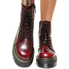 Dr. Martens Cherry Vegan Jadon II Boot ($175) ❤ liked on Polyvore featuring shoes, boots, platform boots, treads shoes, rugged boots, fake leather boots and dr martens shoes