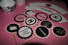 Coco CHANEL cupcake TOPPERS shower wedding baby bridal pink elegant classy designer