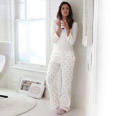 Rosebud Dot Flannel PJ Bottoms | The White Company ~ cosy!