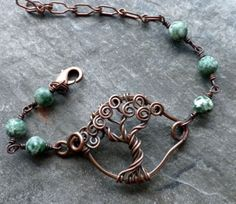 Tree of Life bracelet in green tree agate and copper wire, by Shannon from Vixens Natural Jewellery <3