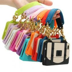 3D Hybrid Silicone Rubber Soft Gel Handbag Chain Case Cover For iPhone4 4S 4G