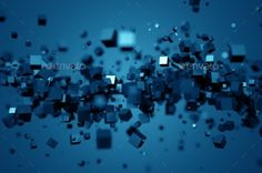Abstract 3D Rendering Of Chaotic Cubes. by valex113 Abstract 3d rendering of chaotic particles. Poster with random cubes in empty space. Futuristic background. Render in JPG format.