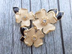 Vintage Signed Trifari Dogwood bouquet brooch AC106 #Trifari