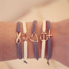 DIY make friendship bracelets- DIY Freundschafts-Armbänder knüpfen Freundschaftsarmbänder - Bracelet Crafts, Macrame Bracelets, Jewelry Crafts, Anchor Bracelets, Nautical Bracelet, Crochet Bracelet, Jewelry Bracelets, Silver Bracelets, Diamond Earrings