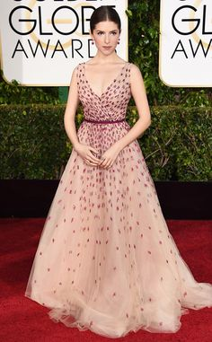 Anna Kendrick from 2015 #GoldenGlobes In Monique Lhuillier