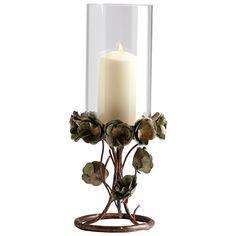 Cyan Design 05324 Large Leigh Green Rose Candleholder in Bronze Patina