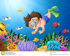 Cartoon Boy Diving In The Sea Stock Vector - Illustration of funny, fish: 93319407 Hand Drawing Reference, Drawing For Kids, Art Reference, Art For Kids, Cartoon Cartoon, School Board Decoration, Underwater Animals, Cute Fish, Children's Book Illustration