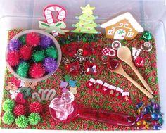 Christmas Sensory tub - Love all the bright, vibrant colors!