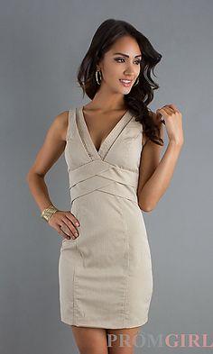 Short Sleeveless V-Neck Dress by XOXO at PromGirl.com