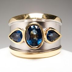 LeVian+Blue+Sapphire+Wide+Band+Etruscan+Ring+14K+Gold