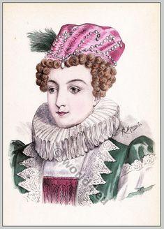 Historic renaissance hairstyles. Marguerite de Navarre (1492-1549).