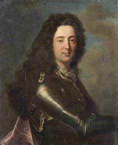 Prince Philippe II d'Orléans, Duc de Chartres (1674 - 1723), puis 13e. Duc d'Orléans, Duc de Montpensier, Premier Prince du Sang de France. Fils de Monsieur, frère de Louis XIV, et de la Princesse Palatine 'Liselotte'. Il fut marié de force à Mademoiselle de Blois, fille bâtarde du roi et de la Marquise de Montespan. / By Hyacinthe Rigaud.