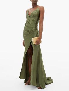 Shop our edit of women's designer Dresses from luxury designer brands at MATCHESFASHION Olive Green Bridesmaid Dresses, Olive Green Dresses, Grad Dresses, Formal Dresses, Wedding Dresses, Prom Dress, Satin Gown, Silk Dress, Silk Satin