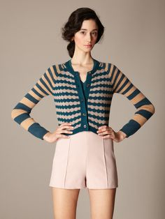 Great look! Wool Cashmere Striped Cropped Cardigan by Marni on Gilt.com