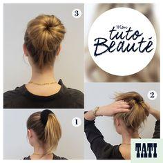 Nul besoin d'être une coiffeuse professionnelle pour se faire un joli chignon de ballerine. Nous vous proposons un tuto qui vous expliquera les 3 étapes clés à suivre pour réaliser un chignon grâce à notre donut TATI, disponible dans nos magasins. #tati #coiffure #tuto #chignon #donuts #DIY #woman #inspiration #mode