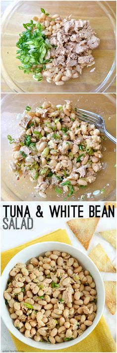 & White Bean Salad Packed with flavor and protein, and NOT mayonnaise! Tuna & White Bean Salad - Packed with flavor and protein, and NOT mayonnaise! Tuna Recipes, Dinner Recipes, Cooking Recipes, Vegetarian Cooking, Hamburger Recipes, Vegetarian Recipes, Potato Recipes, Soup Recipes, Bean Salad Recipes
