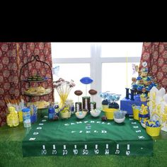 Football themed (Michigan) baby shower!!! But I think I am gonna make it to where it is pink and blue and the names will be Jasiah and Johanna :)