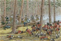 The American second line – a bitter fight in the woods, Guilford Courthouse, 1781. Click on image to ENLARGE.