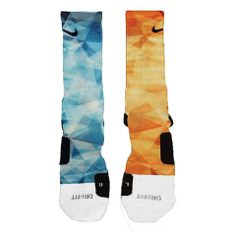 Blue + Orange Prism Mix Custom Nike Elite Socks on sale for $26.99 on www.FreshElites.com KD6 BLUE CRAB OKC THUNDER