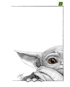 Creds to artist Star Wars Drawings, Cute Drawings, Drawing Sketches, Star Wars Fan Art, Desenho Do Star Wars, Art Galaxie, Yoda Drawing, Art Du Croquis, Cuadros Star Wars