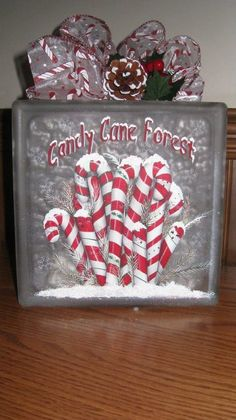 Lighted Candy Cane Forest Glass Block by GrannyKstreasures on Etsy...I know a Candy Cane Lane who would like this!