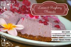 Raw Raspberry and Lemon Cheesecake: Low fructose | dairy free | gluten free