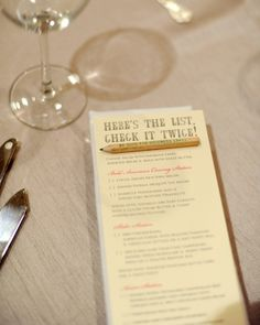 "Cute Idea for Christmas wedding: Here's the List, Check it Twice Menu. The little pencils are printed with ""be good for goodness sake!"" Guests chose from stations offering sliders, Asian fare, and some of the couple's other favorite foods."