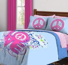 Pink And Blue Girl Bedding - Peace Sign Girl Bedding Set  http://www.squidoo.com/pink-and-blue-bedding-pink-and-blue-baby-crib-bedding