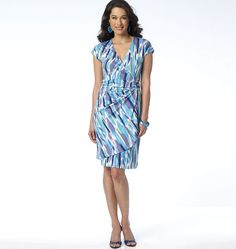 Flattering wrap dress pattern from Butterick. Sew B6154 for jersey knits.