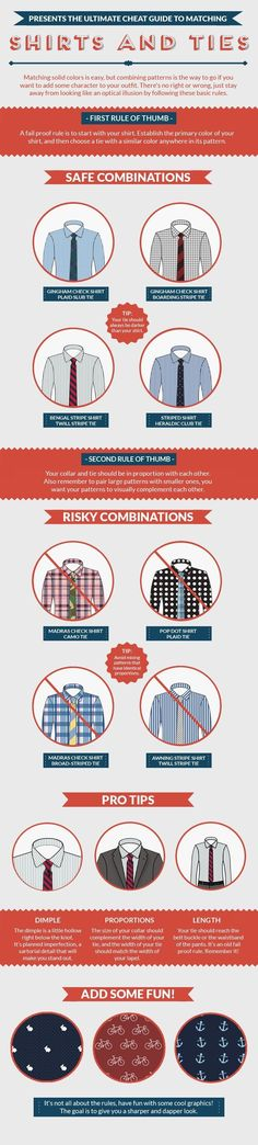 Learn how to match your favorite shirt with the perfect tie with this infographic!