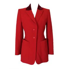HERMES Vintage Riding Jacket  4 to 6 red velvet collar exquisite | From a collection of rare vintage jackets at http://www.1stdibs.com/fashion/clothing/jackets/