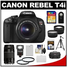 Canon EOS Rebel T4i Digital SLR Camera Body & EF-S 18-55mm IS II Lens with 75-300mm III Lens + 32GB Card + Case + Flash + Battery + Tripod + 2 Lens Set + Filters + Remote + Accessory Kit by Canon. $1024.95. Kit includes:♦ 1) Canon EOS Rebel T4i Digital SLR Camera Body & EF-S 18-55mm IS II Lens♦ 2) Canon EF 75-300mm f/4-5.6 III Zoom Lens♦ 3) Transcend 32GB SecureDigital Class 10 (SDHC) Ultra-High-Speed Card ♦ 4) PD 2000 Digital SLR System Camera Case ♦ 5) PD DS...