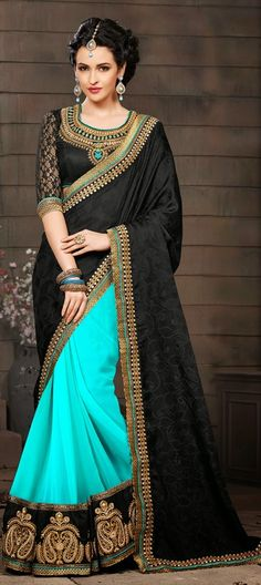 BLACK + NEON BLUE = THIS! Order at flat 15% off + free shipping. #Saree #Wedding #bride #colorblock #OnlineShopping