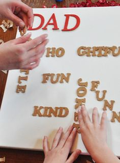 easy to make kid DIY gift for mom or dad - a word collage on canvas!