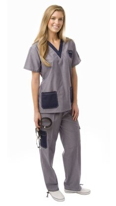 Women's Contrast Stitched Patch Pocket Uniform Scrubs