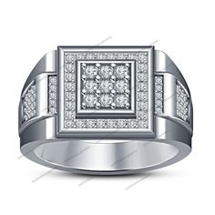 0.70 TCW Round D/VVS1 Diamond 925 Sterling Silver Men's Wedding Nine Stone Ring #BR925 #MensNineStoneRing