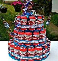 25th Birthday Ideas See More This Would Make A Cool 4th Of July Cake With Budweiser Cans