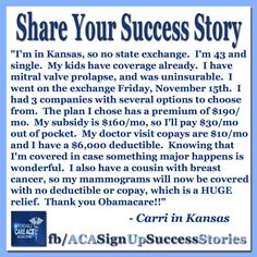 #ACA #Obamacare   Signup Successes are rolling in fast from states with no exchanges, like from Carri in Kansas:  Fight the negativity.   #GetTalking about #YourStory.   Join us, Share, Tell your friends. The time is NOW.   http://facebook.com/acasignupsuccessstories   http://twitter.com/ACASuccessStory