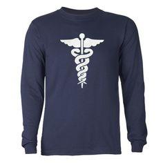Nurses Medical Symbol Caduceus Long Sleeve Dark T-Shirt