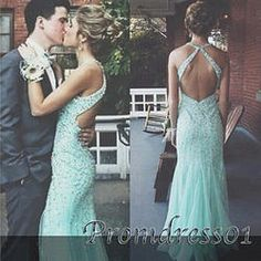 #promdress01 prom dresses - 2015 open back light green chiffon prom dress for teens, ball gown with rhinestones, wedding dress #coniefox #2016prom