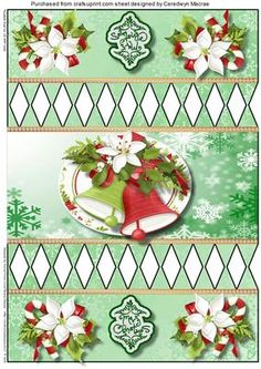 Lovely Green Christmas Cracker 3  on Craftsuprint designed by Ceredwyn Macrae - A lovely quick and easy Christmas Cracker to make and give , Cut out all the white diamond shapes Glue along one lone side and place over the other long side to make a tube then tie with ribbon at the cut out sections , enjoy ,  - Now available for download!
