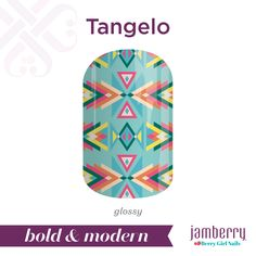 Put a trendy twist on your mani with 'Tangelo'! Featuring vibrant colors and geometric shapes, this design is sure to make a statement. #TangeloJN #pink #orange #teal #blue #green #peach #yellow #geometric #glossy #nailwraps #spring #boldandmodern #jamberry #berrygirlnails