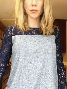 March 2015 Stitch Fix - Loveappella Georgini Lace Detail Knit Top #stitchfixfriday.   Check out my new June 2015 Stitch Fix reviews in my Summer Style board!!