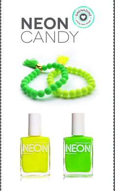 combina tus accesorios con unas uñas color neon!  #neon #summer #nails #accessories #bracelet #nailpolish #nail polish #beads #fashion #trend #jewels #jewelry