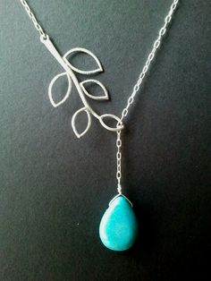 Leaves with turquoise Necklace -  bridesmaid gifts, birthday gift, Mom and sister gift,flower girl,anniversary gift. $20.00, via Etsy.