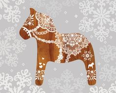 Dala horse print, makes me think doily stencilling may be a cool way to go with these. Swedish Christmas, Scandinavian Christmas, Christmas Time, Christmas Crafts, Christmas Ornaments, Scandinavian Folk Art, Horse Print, Artsy, Horses