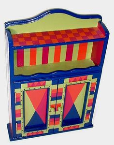 whimsical painted antique cabinet   hand-painted stripes, checks, a colorful background and floating gold ...